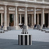 Palais-Royal. Daniel Buren's modern installation of black-and-white striped columns.
