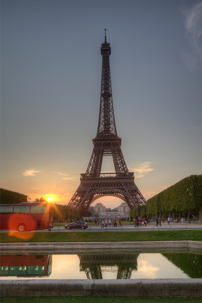 Eiffel Tower at sunset.