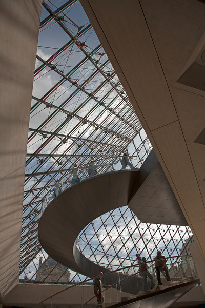 Musee du Louvre Pyramide, entry stairs