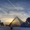 Musee du Louvre Pyramide, sunset