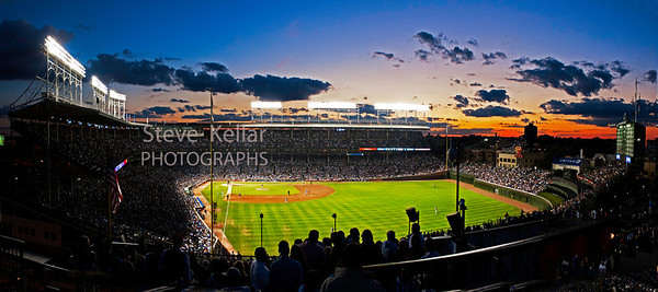 Wrigley Field Sunset 40x18 Laminate Finish, Float Mount   $295