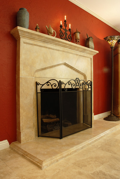 Tiled Gothic-style fireplace