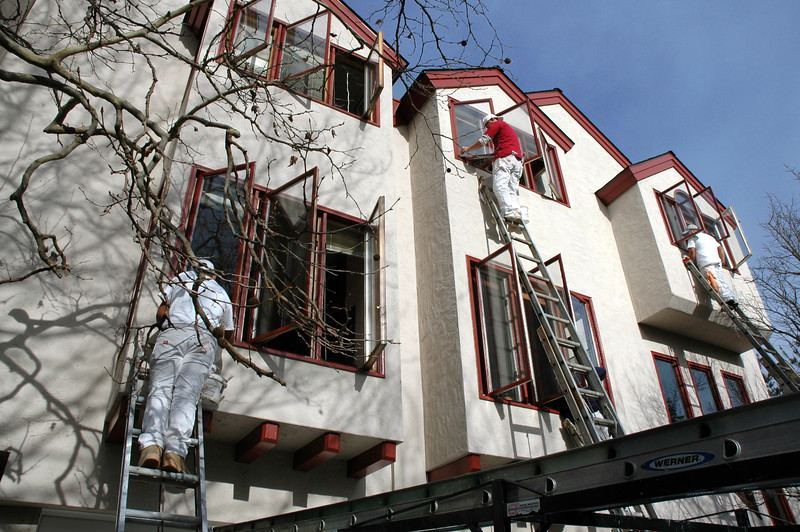 Painting the exterior of a modern townhouse