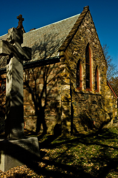 Apse end and Gravestone, Old Stone Church in Middletown, RI.