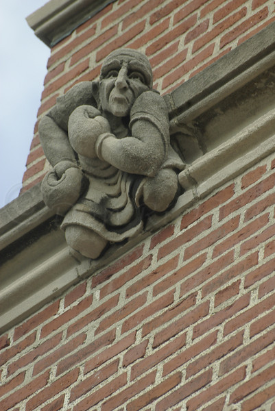 Pugilist Gargoyle on facade of Gymnasium, WPI, Worcester, MA