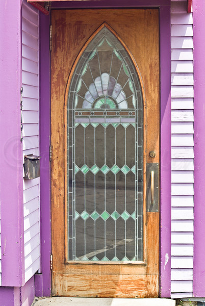 Stained glass door.