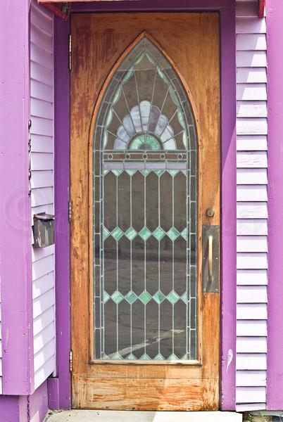 Stained glass door.