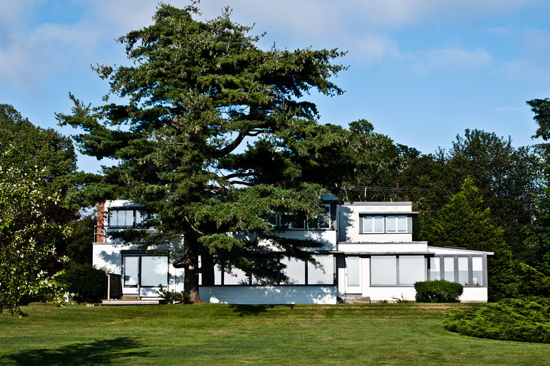 Nice old Modern house with Pine tree. Once owned/designed by Norman Herreshoff of the Boat Designing family though he was an archtect.