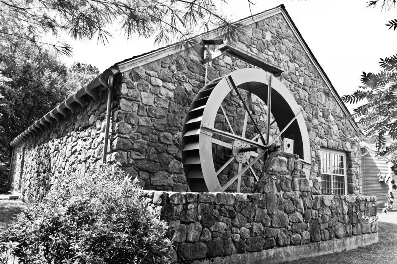 Faux water wheel behind Griffin Museum of Photography, Winchester, MA
