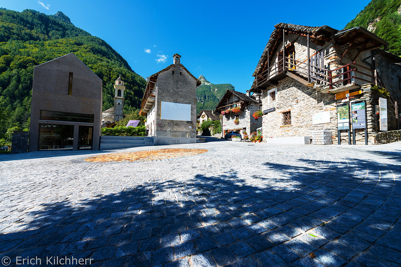 Village sqare and church of Sonogno, Verzasca valley