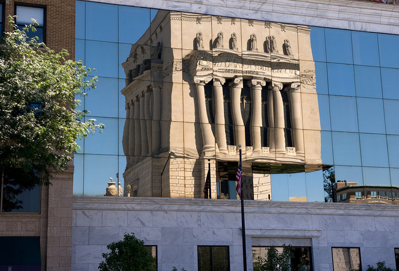 Reflections of Indiana War Memorial in downtown Indianapolis, IN.