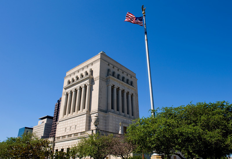 Indiana War Memorial in downtown Indianapolis, IN.
