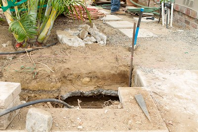 An old abandoned front walkway buried by previous owner, discoverd when digging front wall footings