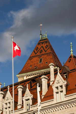 Switzerland, Lausanne, Swiss Flag SNM