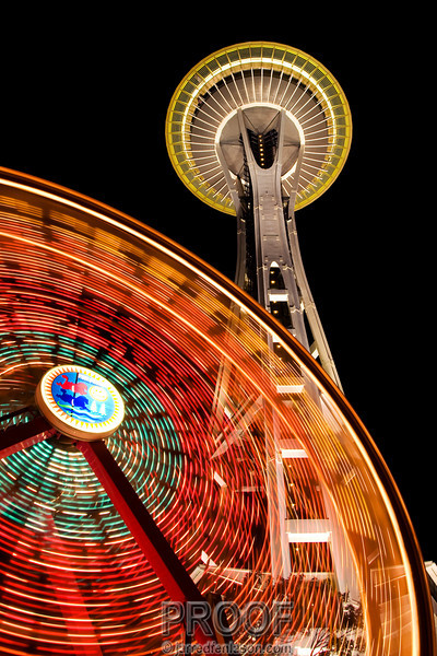 Seattle Needle and Ferris Wheel Just Before Midnight