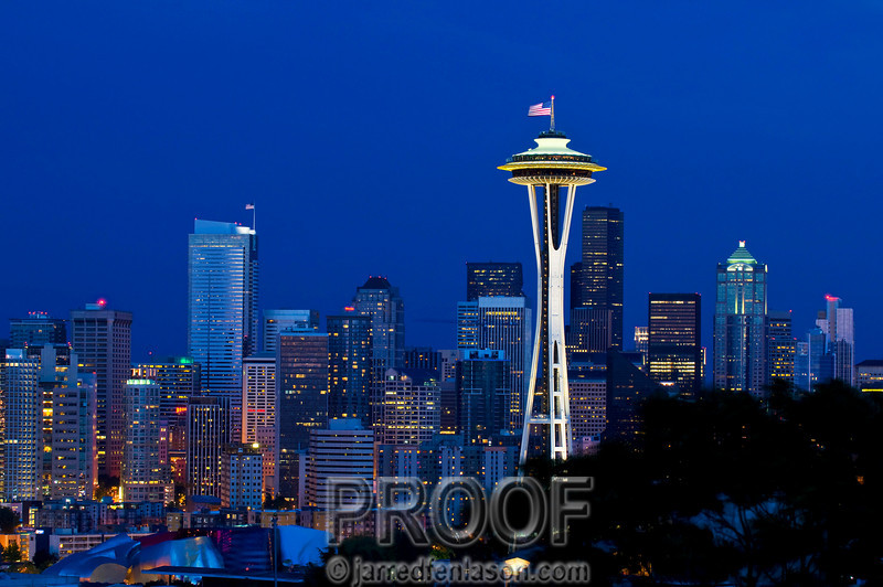 Seattle Just Before Nightfall When the Sun Has Set and a Faint Blue Color Lingers in the Sky