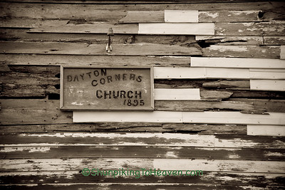 Close-up of Dayton Corners Church Sign and Wooden Clapboard Siding, Richland County, Wisconsin