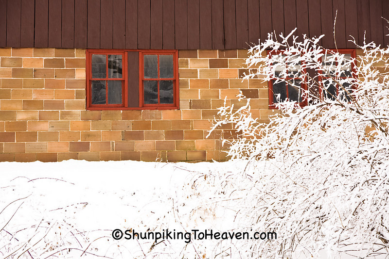 Tile Barn Foundation in Winter, Dane County, Wisconsin
