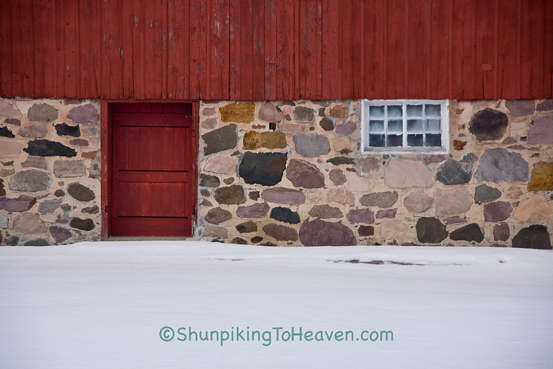 Stone Foundation and Red Barn Door, Dodge County, Wisconsin