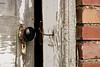Black Porcelain Doorknob on Outhouse, Jones County, Iowa