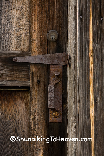 Keyhole, Latch, and Handle on Railroad Depot, Coles County, Illinois