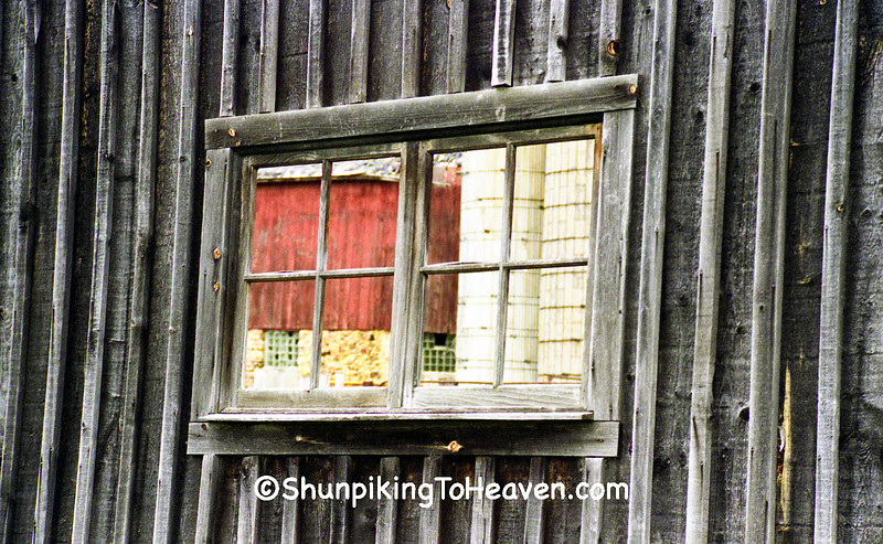 Barn and Silos Through Window of Straw Shed, Sauk County, Wisconsin