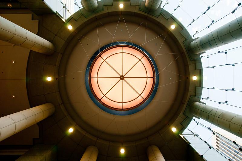 Ceiling detail of a fancy building lobby in Seattle.