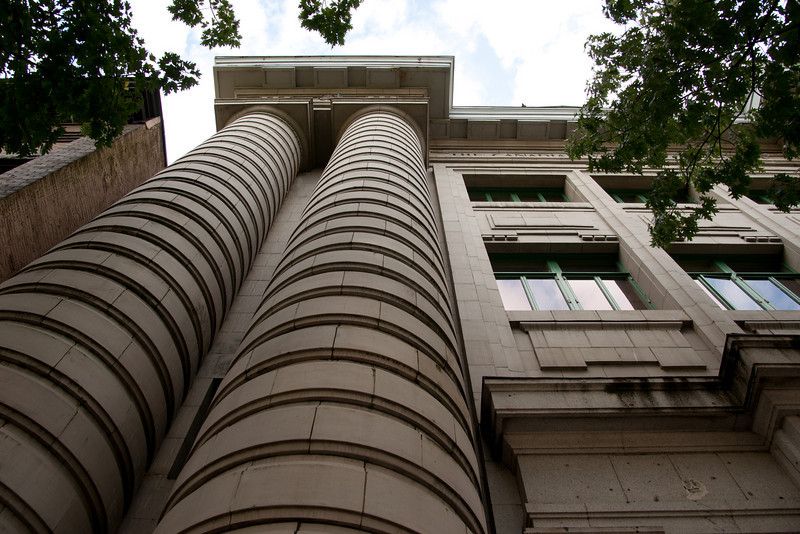 CIBC, Main and Pender Streets, Vancouver BC.  The unique columns look like stacks of coins.