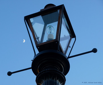 Night Lights. Street light with a moon back drop in Natchitoches, Louisiana. Oly E510 & ZD14-54.