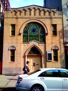 Old Broadway Synagogue, Manhattanville, West Harlem, NYC  Exuding old world charm, Old Broadway Synagogue is an Orthodox Jewish shul. The little brick building is located on Old Broadway - a vestige splinter of Manhattan's colonial-era Bloomingdale Road, which much later evolved into today's Broadway - between West 125th and 126th Streets. The congregation incorporated in 1911 under the Hebrew name Chevra Talmud Torah Anshei Marovi (which roughly translates as West Siders' Congregation Torah Teaching Center), but did not erect this building until 1923. Old Broadway Synagogue has endured to become the last affiliated Jewish synagogue in Harlem - formerly New York City's second largest Jewish community, after the Lower East Side - most others having been adapted as Christian churches. In 2001 Old Broadway Synagogue was listed on the State and National Registers of Historic Places.
