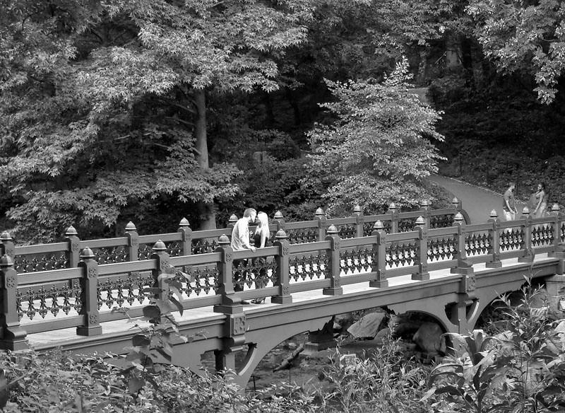 A kiss restores Bank Rock Bridge to an ancient purpose, Central Park, NYC