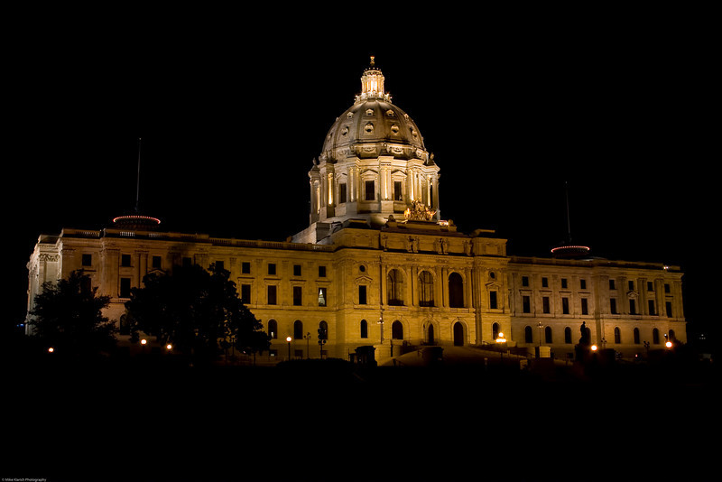 The State Capital of Minnesota-0525 <br /> The Capital is 434 feet long, 229 feet wide, 223 feet high. The exterior dome is 89 feet in diameter. The interior dome is 60 feet in diameter. The Capitol was built at a cost of $4.5 million in 1902.
