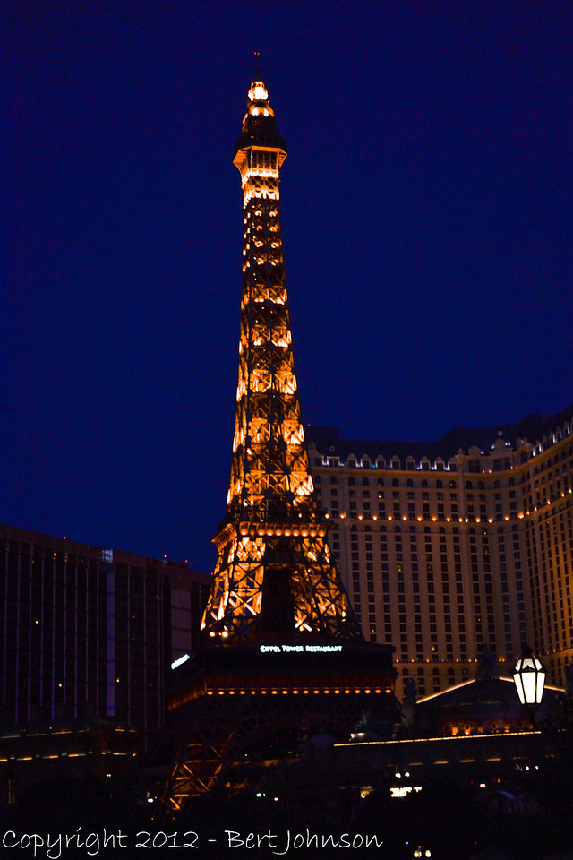 Las Vegas Paris hotel - the US version of the Eiffel Tower. It is truly lovely at night.