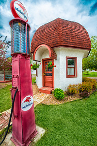 The Mushroom building is a vintage gas station that has been saved by the Dassel Area Historical Society.