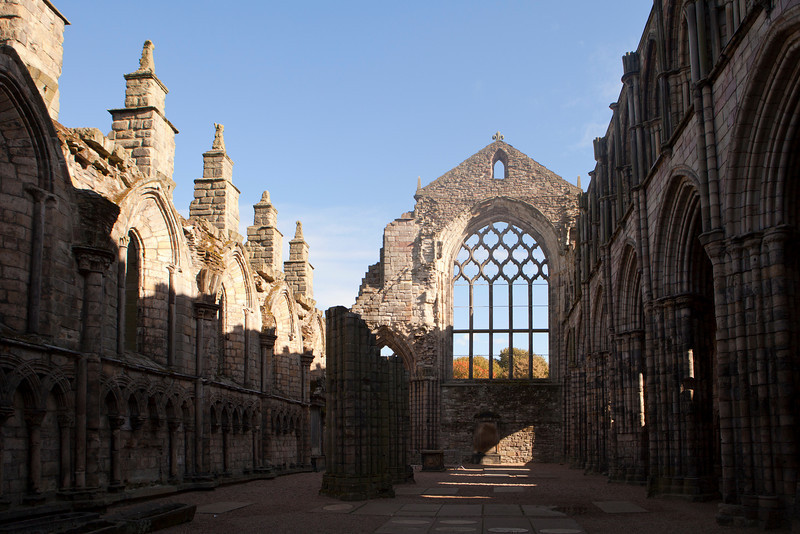 The interior of the ruins of the main building in an old abbey in Edinburgh, Scotland.