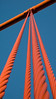 An abstract view of the suspension cables on the Golden Gate Bridge in San Francisco. This view plays off the contrast between the newly painted red cables and the blue sky.