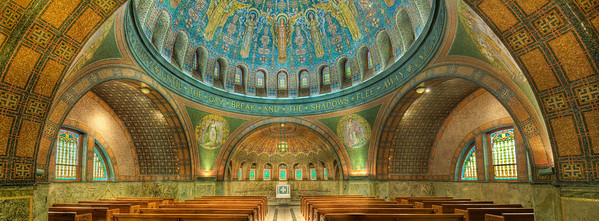 Lakewood Chapel Pano view, Lakewood Cemetary, Minneapolis MN---Arc-4026 10 million mosaic tiles adorn Lakewood Chapel which is considered to be the most perfect example of Byzantine art in the United States.