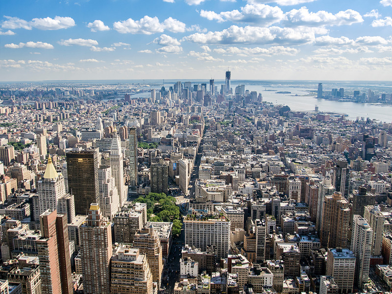 A view of Manhattan from Greenwich Village south to Wall Street as seen from the observation deck of the Empire State Building.
