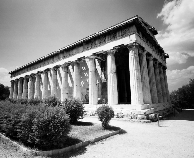 The temple of Hephaestus in the old Greek Agora of Athens still stands mostly intact. (Scanned from black and white film.)