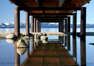 Reflections under a dock, Lake Tahoe.