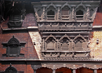 the facade of the house of the living goddess in Nepal