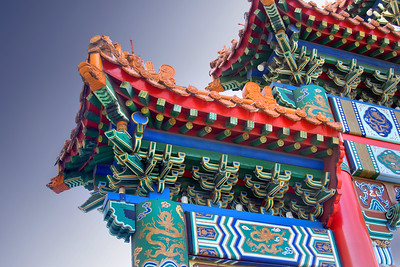 Beautiful, ornate and colorful Chinese construction and buildings,