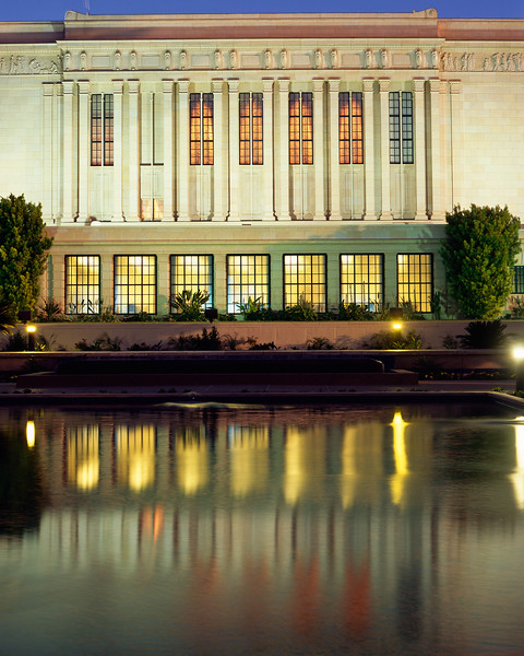 The North side of the Morman Temple in Mesa, AZ reflected in the meditation pool, at sunset.