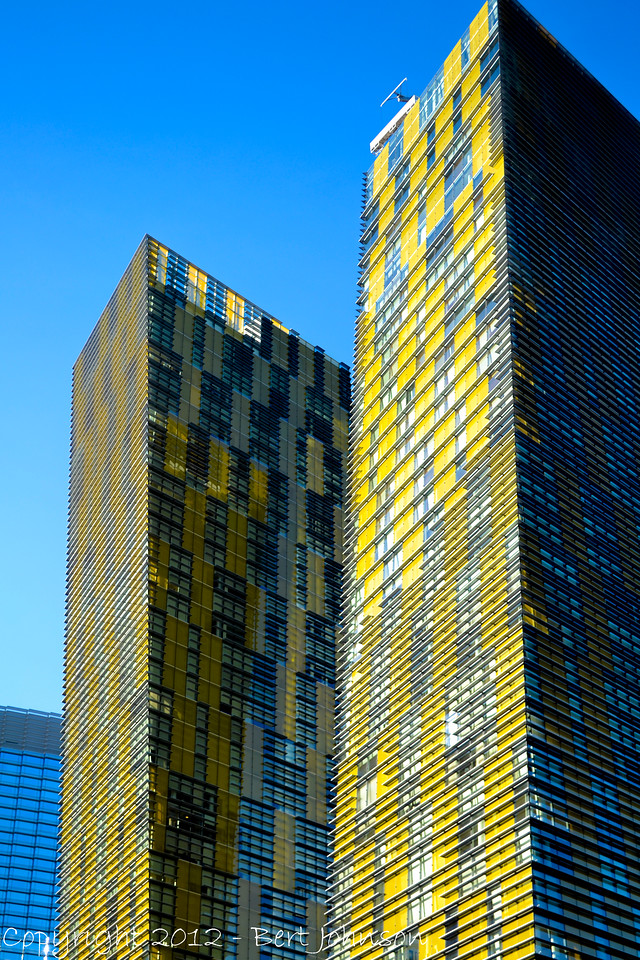New twin buildings that rise up on the Las Vegas strip.