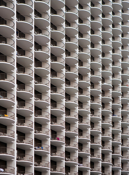 An architectural abstract view of the balconies and windows of a hotel. The repeititive pattern provides a nice background.