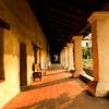 walkway of santa barbara mission exterior. santa barbara, California, USA