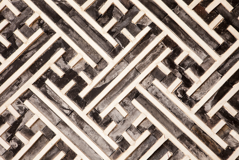 A geometric pattern made of wood slats is one of the architectural details in one of the buildings in the Gyeongbokgung Palace complex in Seoul.