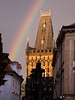A colorful rainbow that formed over the Powder Tower in Prague's old town just before sunset.