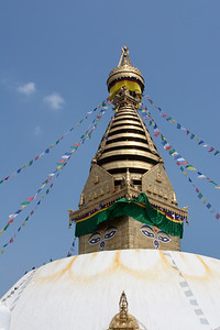 stupa and prayer flags in Nepal