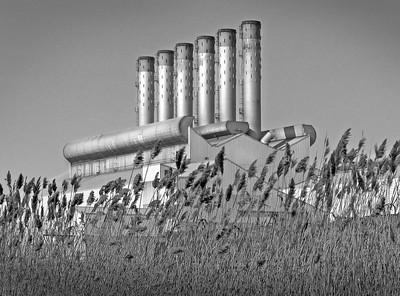 black & white photo of a car plant
